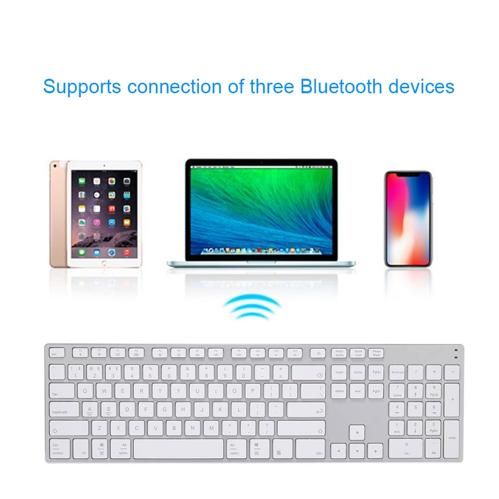 цена на Aluminum Alloy Wireless Bluetooth 3.0 Keyboard for Tablet Laptop Phone Support iOS Windows System SL@88