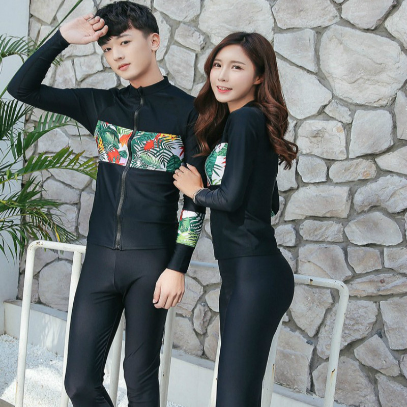 SBART Anti-UV Lycra Long Sleeve Surfing Rash Guard Shirts Pants With Zipper Swimwear Couple Plus Size Quick Drying swimSuit