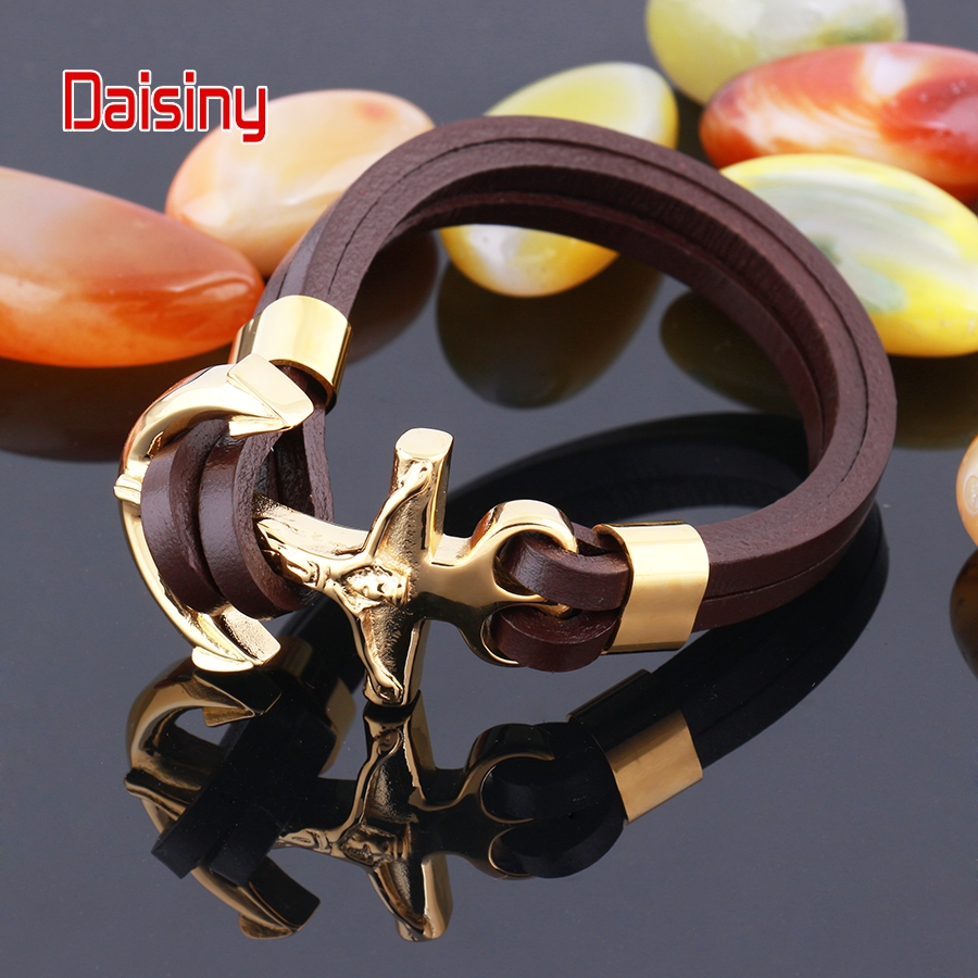 Leather Bracelet Men Punk Black Christian Silver / gold Color Jewelry Vintage Stainless  ...