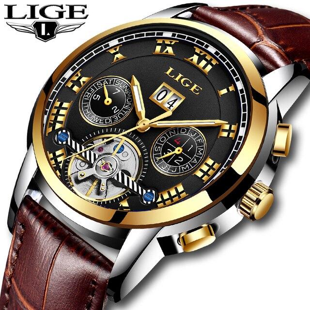 54ecf92d5e7 2018 Máquinas de LIGE Marca De Luxo Automático Relógios Relógio Dos Homens  de Negócios Dos Homens