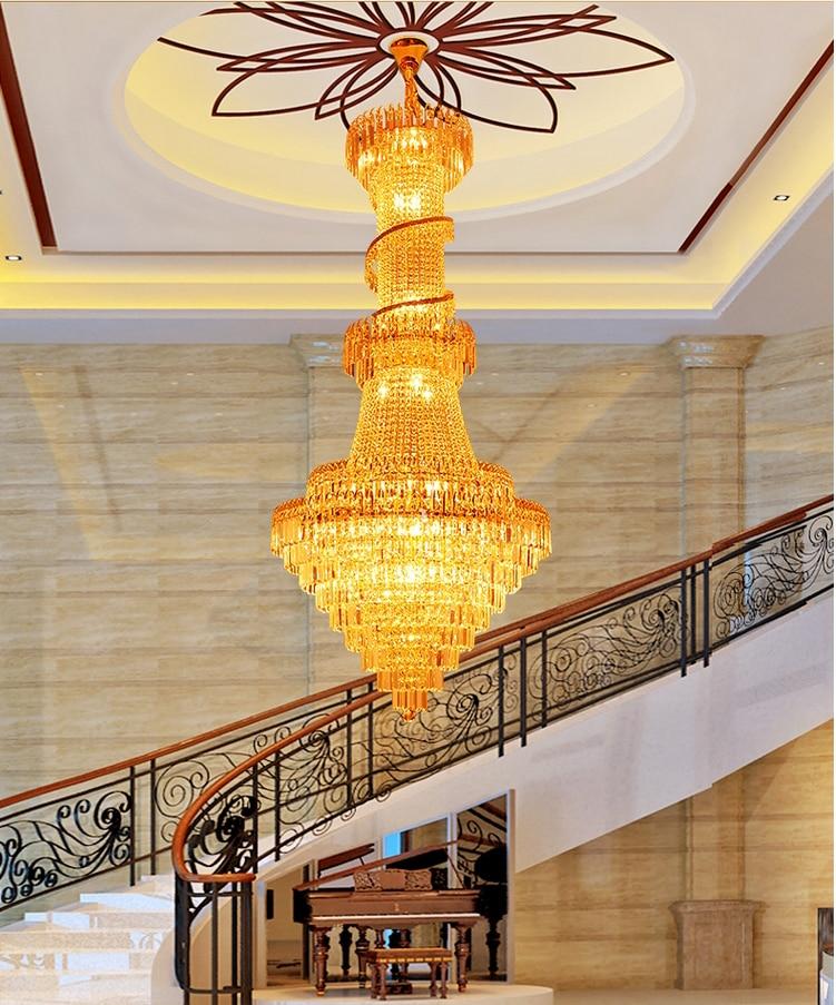 Guld krystal lysekroner lysarmatur europæisk luksus lang lysekrone - Indendørs belysning - Foto 5