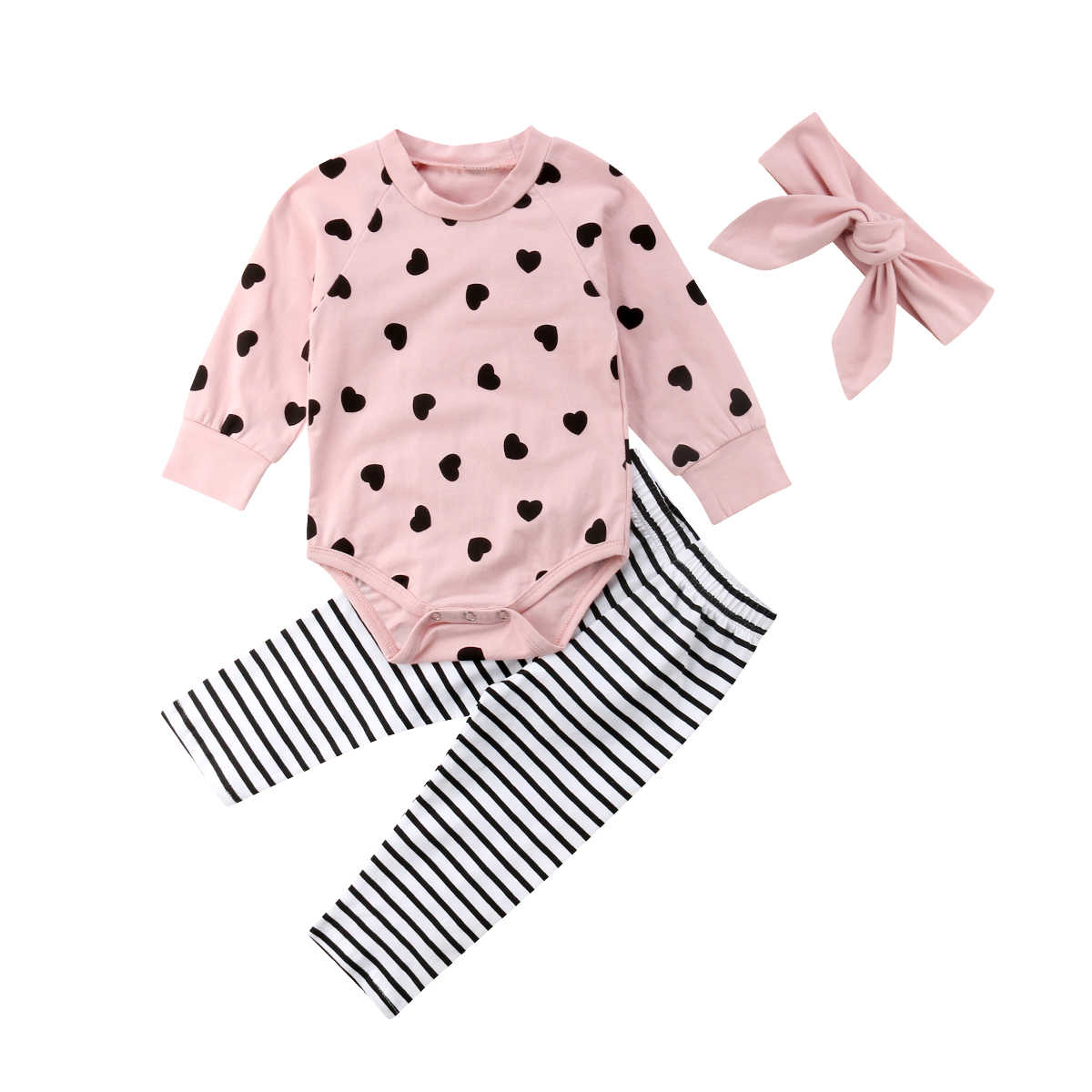 2018 Cute Newborn Infant Baby Girl Clothes Long Sleeve Pink Romper Tops Striped Pant Outfit Kid Clothing Set
