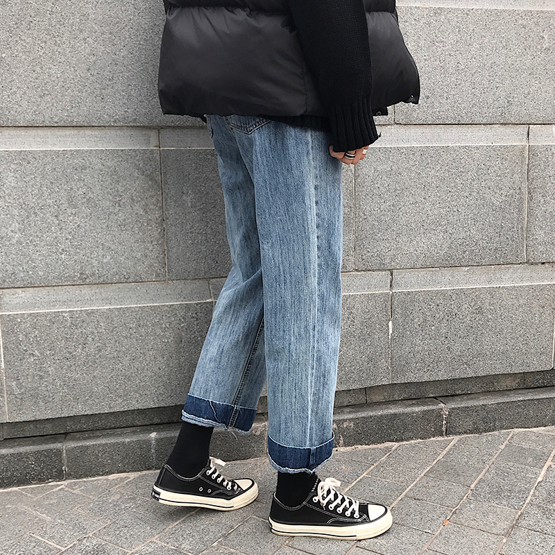 Men Vintage Fashion Loose Straight Jeans Male Jeans Harem Pants Lovers Student Trousers-in Jeans from Men's Clothing    3