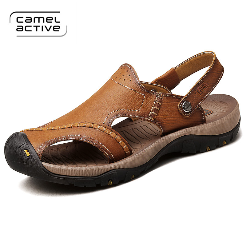 Camel Active Mens Sandals Genuine Leather Summer 2018 New Beach Men Casual Shoes Outdoor Sandals Plus Size 38-44