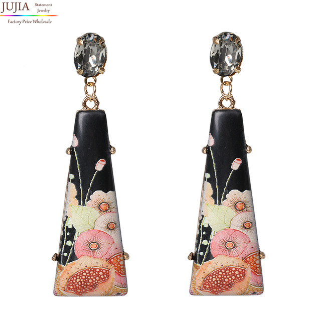 JUJIA 13 kolorów oświadczenie Trendy biżuteria eleganckie geometryczne żywica kolorowy rysunek kwiat kolczyki kryształowe antyczne spadek kolczyki