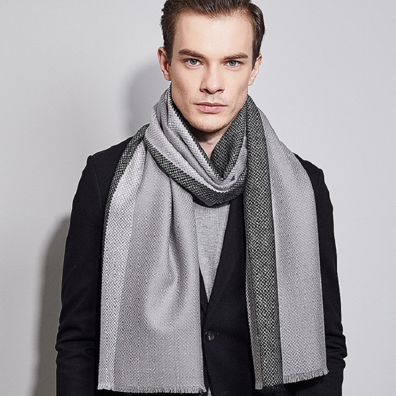 2017 New Business Stripe Scarf Men Winter Luxury Brand Big Size Soft Tassel Version 100% Cashmere Scarves Men Cachecol Masculino