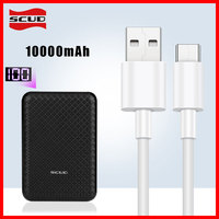 Scud mini power bank 10000mAh+2m micro USB cable with LED digital display small slim powerbank for Xiaomi Huawei Samsung Android