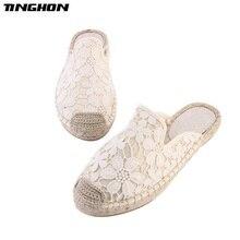 TINGHON Fashion Women Ladies Espadrille Shoes Canvas Lace Flower Rome Ankle Strap Hemps Flats