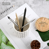 NEVER Plants Series Ceramic Pen Holder Europe Pencil Holder Penholder With Cover Desk Organizer Office Supplies