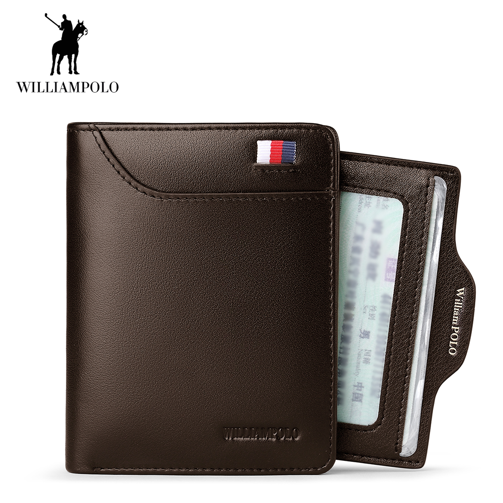 WilliamPOLO Men Wallet Short Credit Card Holder Bifold Genuine Leather Small Multi Card Case Slots Oe Cowhide Leather Wallet New стоимость