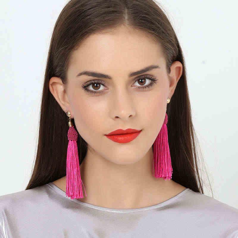 4 design bohemia longo borlas brincos de gota para as mulheres moda orelha jóias exagerada franjas balançando brincos americano & europeu
