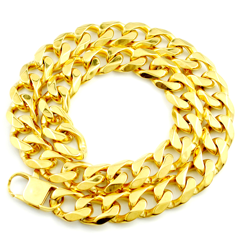 f2cbd4621 Gold Chain Necklace Classic Men Jewelry Gold Color 18mm Heavy Trendy  Necklace Best Friend Wedding Party Gifts KN043