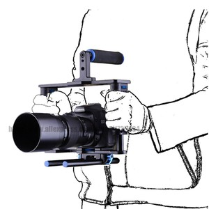 Image 3 - אחיזה כפולה DSLR מצלמה כתף Rig סרט סרט ערכת מערכת וידאו לחיצת יד תמיכה כלוב עבור Canon Nikon Sony מצלמות BMCC panasonic