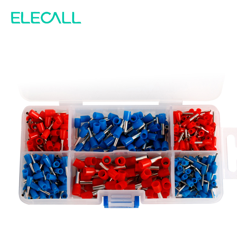 450 Pcs Box Insulated Terminals Electrical Crimp Connector Tube Wire Connector Assortment Kit Cold Pressing Copper Terminals