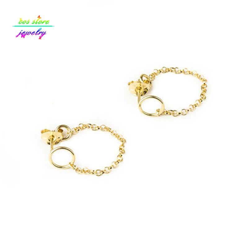 Минималистичные Золотые/серебряные круглые массивные серьги-гвоздики для женщин короткие серьги спереди и сзади Bjoux