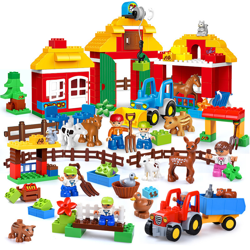 Big Size Diy Happy Farm Happy Zoo With Animals Blocks Set Compatible With Legoingly Duplo Brick Toys For Children Brinquedos gorock happy farm series animals paradise cow duck sheep farm animal model large particles building block compatible with duplo