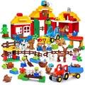 Big Size Diy Happy Farm Happy Zoo With Animals Set Compatible With Legoingly Duploe Blocks Bricks Toys For Children birthday kid