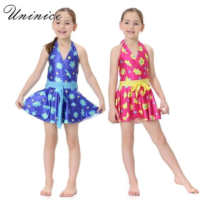80aeb683e1df7 Lolita Floral One-Piece Swimsuit Girls Swimming Dress Children Swimwear  Muslim Arabic Swimming Clothes Modest Swimwear