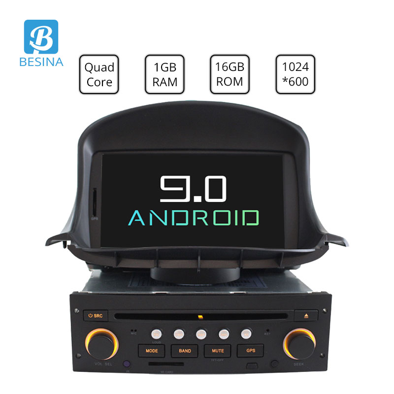Besina 1 <font><b>Din</b></font> Android 9.0 Car DVD Player For <font><b>Peugeot</b></font> <font><b>206</b></font> 206CC Multimedia Autoaudio GPS Navigation Radio Stereo WIFI RDS 1024*600 image