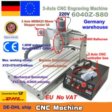 EU Ship free VAT 3 Axis Mach3 6040Z-S80 1500W 1.5KW Spindle Motor CNC Router Engraver Engraving Cutting Milling Machine 220VAC
