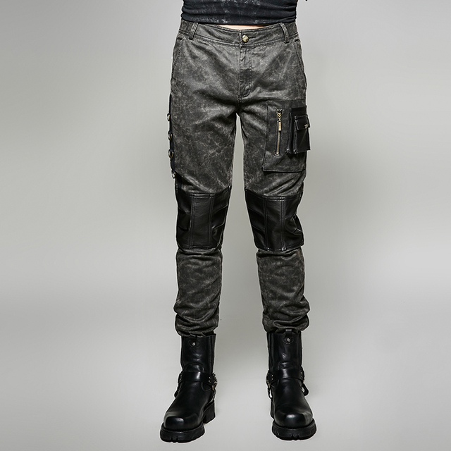 Steam Punk Vintage Military Uniform Man Trousers Gothic Black Casual  Spliced Pants with 3D Pocket a38cedbd5f8