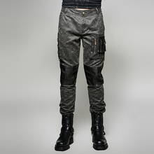 Steam Punk Vintage Military Uniform Man Trousers Gothic Black Casual Spliced Pants with 3D Pocket