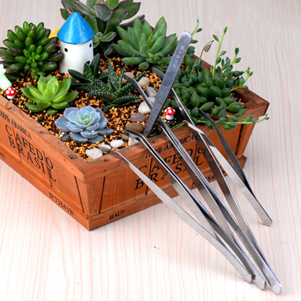 1Pcs Useful Stainless Steel Tweezer DIY Fairy Garden Craft Decoration Miniature Micro Gnome Terrarium Gift ...
