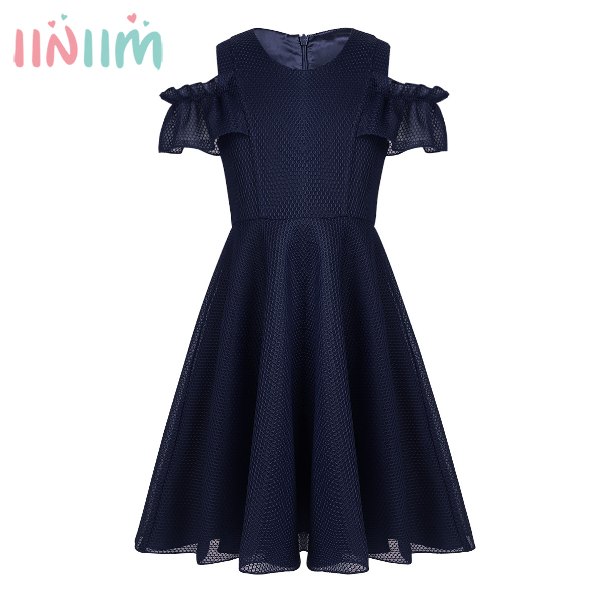 iiniim Teen Girls Lattice Mesh Ruffled Sleeves Cold Shoulder Dress for Birthday Party Summer Flower Dress for Weeding Prom Dress new 7 inch tablet capacitive touch screen replacement for wj1588 fpc v2 0 digitizer external screen sensor free shipping
