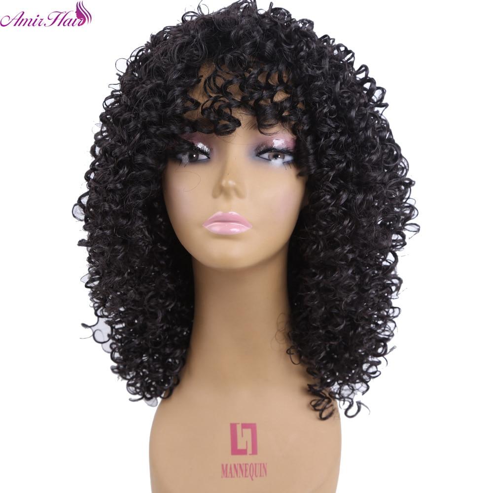Amir Hair Long Afro Kinky Curly Synthetic Wigs For Black Women Pixie Cut Wig Natural Black Hair Cosplay Peruki Damskie Kanekalon