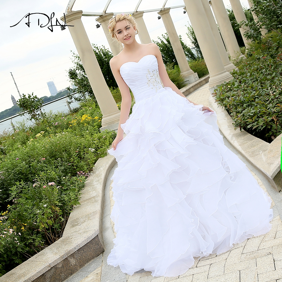 ADLN Cheap Stock Wedding Dress Vestido De Noiva Sweetheart Sleeveless Ruffles Organza A-line Corset Wedding Gowns Robe De Mariee