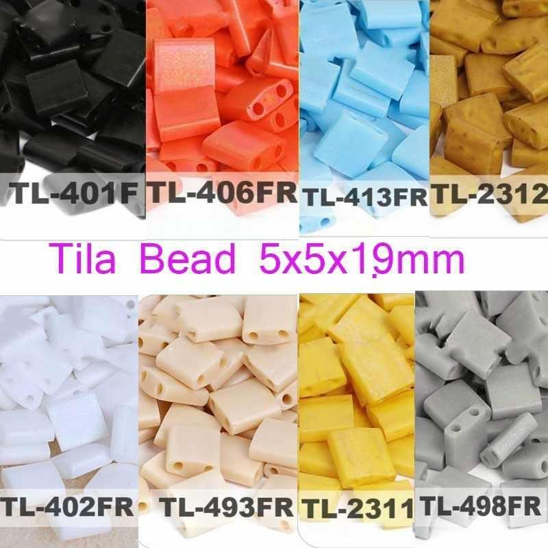Taidian מיוקי Tila Seedbeads עבור DIY תכשיטי צמידי ביצוע 2 חורים 5*5*1.9MM 3/5 גרם\חבילה