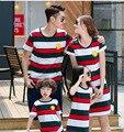 2016 Nueva moda de Verano en familia Mamá Vestido de La Muchacha 100% La Familia fijó la ropa para la madre y la hija vestido de algodón