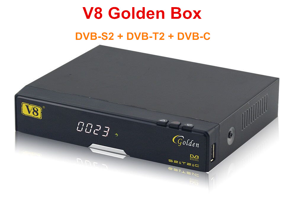 3pcs V8 Golden FHD DVB-S2+T2+Cable Satellite Receiver Support Full PowerVu, DRE &Biss key Support ,IPTV,Youtube,Youporn,Redtube wholesale freesat v7 hd dvb s2 receptor satellite decoder v8 usb wifi hd 1080p support biss key powervu satellite receiver