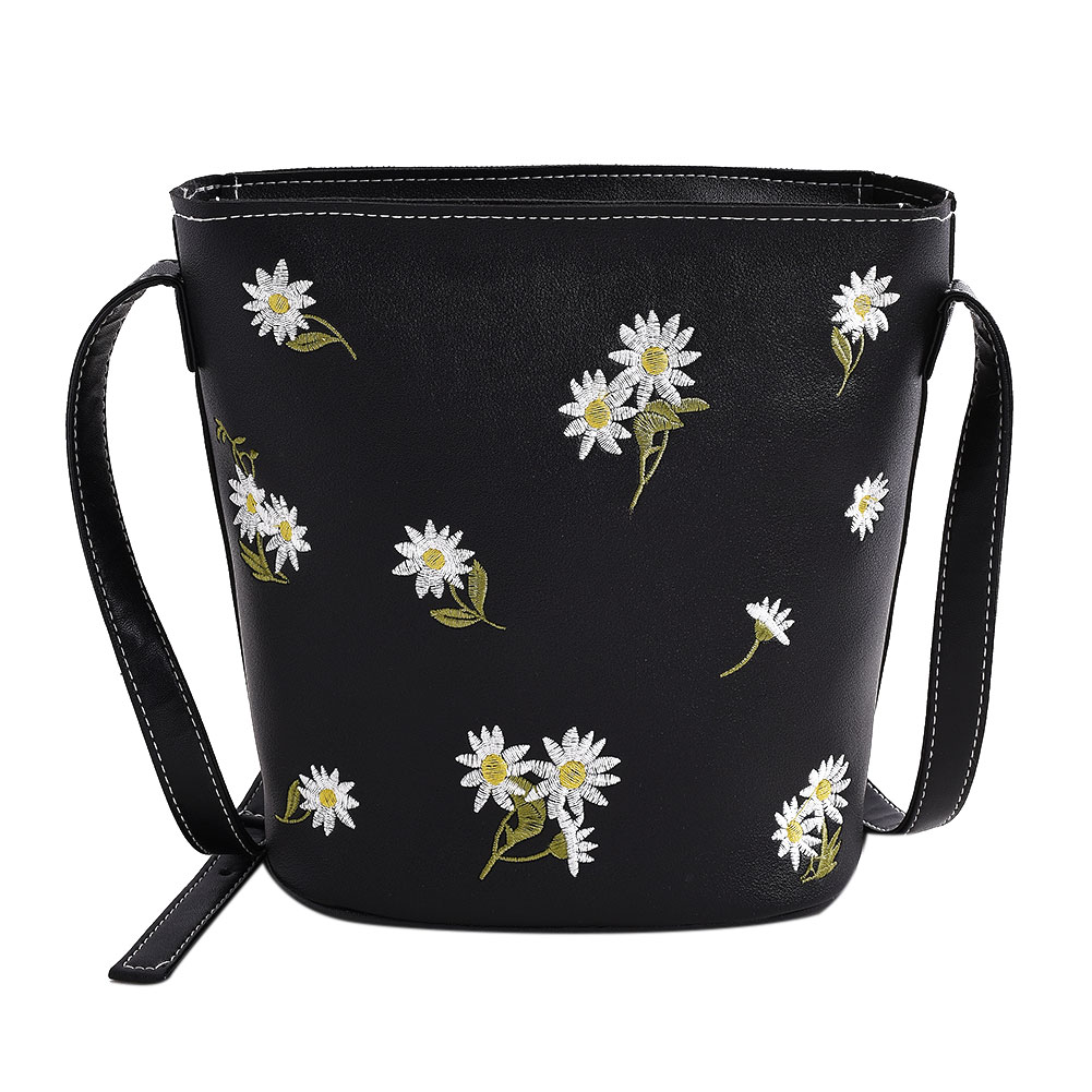 2018 Fashion Strap Bucket Bag Flower Printed Women Pu Leather Shoulder Bag Brand Desinger Ladies Handbags Bolso