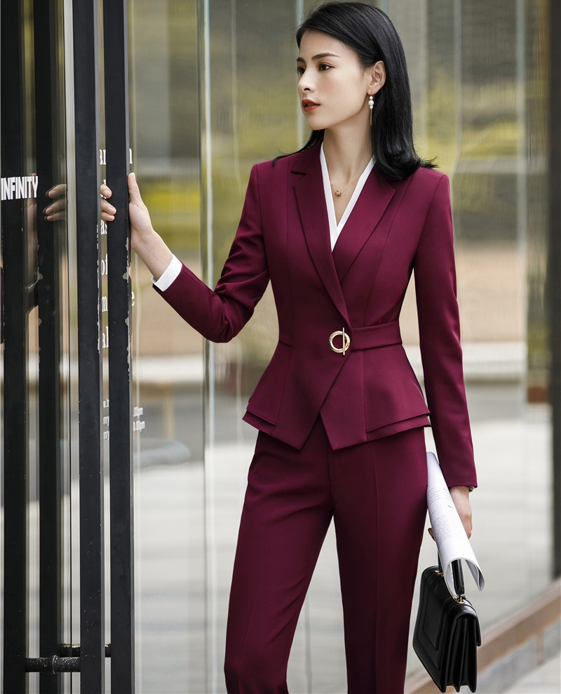 Fashion Wine Uniform Designs Pantsuits With Tops And Pants Sets For Women Business Suits Ladies Office Pantsuits Pants Suits