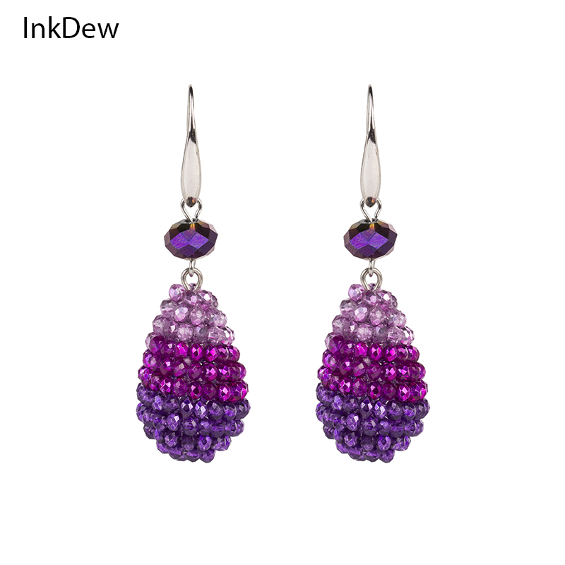 Fashionable Water Drop Shape Big Earrings Long Earrings Beaded Handmade Threading Crystal Drop Earrings for Women