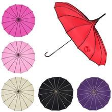 מגדל פגודה מטריית לנשים ארוך ידית גותי קלאסי שמשייה Creative מגדל פגודה Windproof סאני ומטריות גשם