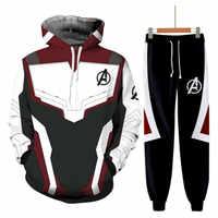 Avengers Endgame Quantum Realm sudadera chaqueta avanzada Tech sudaderas con capucha Cosplay camisetas de superhéroes Iron Man sudaderas pantalón