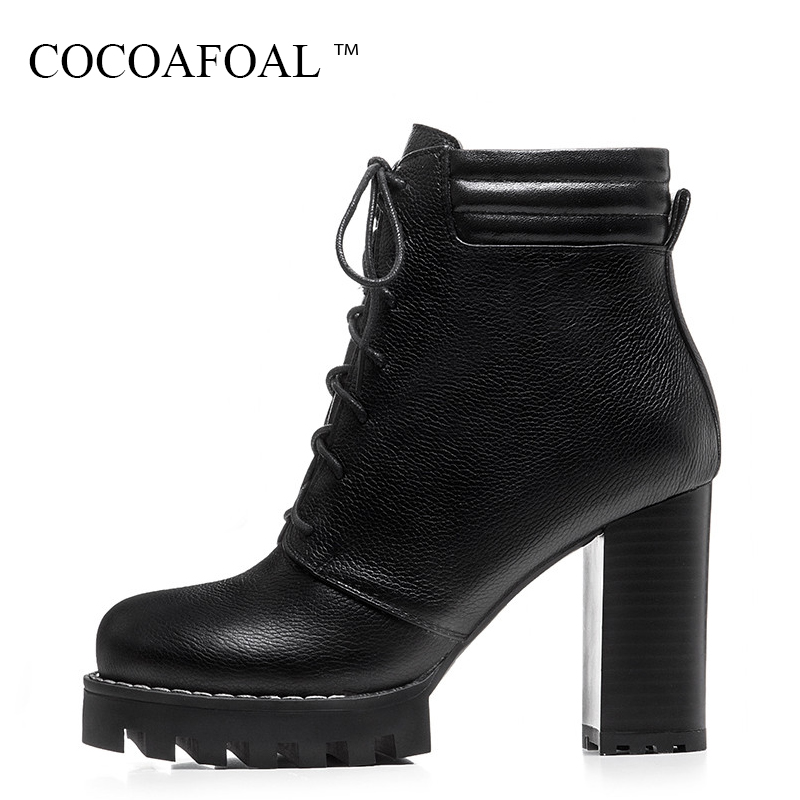 COCOAFOAL Fashion Black High Heeled Shoes Genuine Leather Lace Up Martin Boots Woman Winter Nubuck Leather Chelsea Ankle Boots spring nubuck genuine sheepskin leather up