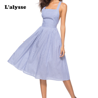 LALYSSE Women Vintage Striped Midi Dress Linen Blue Elegant Summer Dress 2019 Casual Cotton Fashion Female Beach Vestidos New