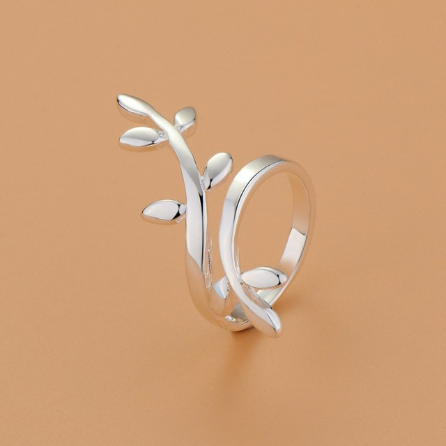 e170e1548994 Precio al por mayor plateado plata anillo abierto para las mujeres señora  de la boda ramas