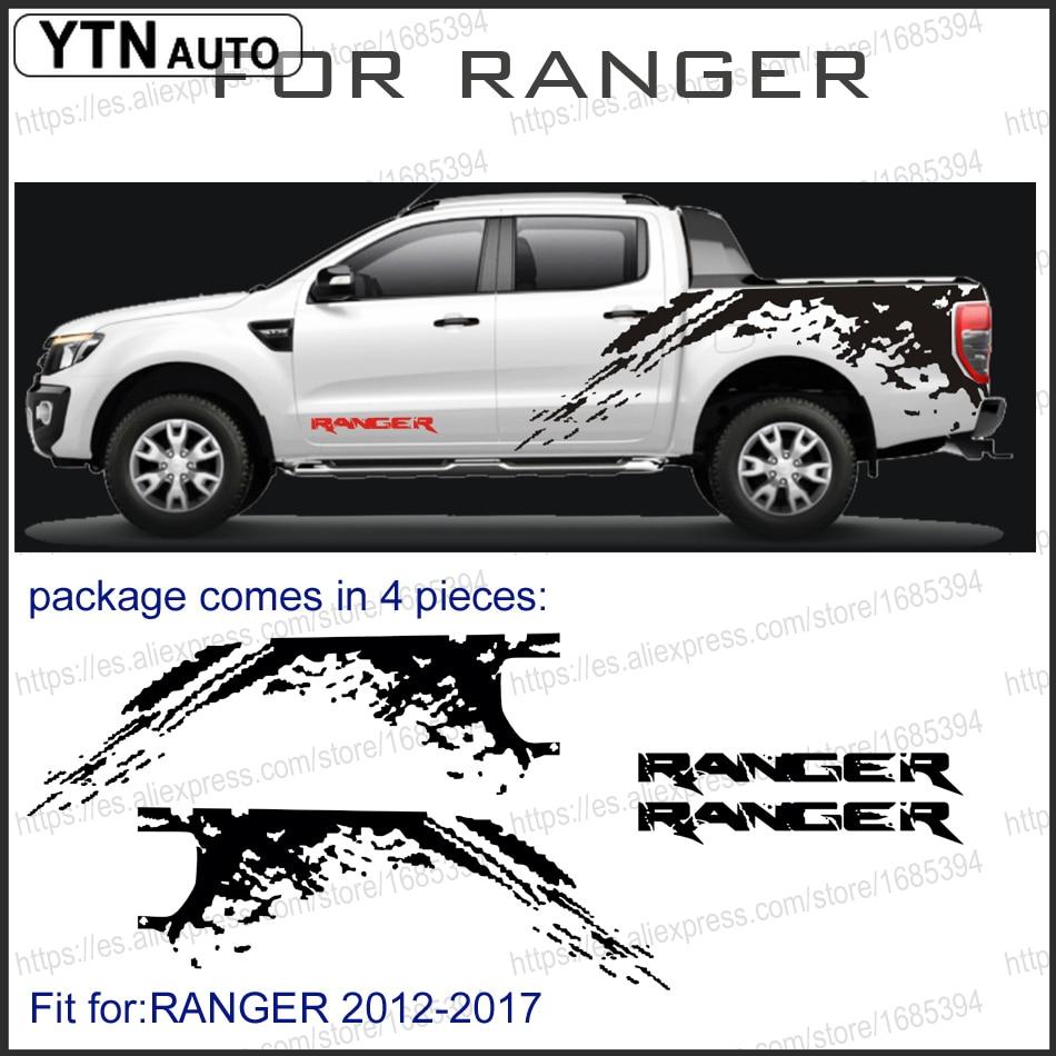 Adesivos de carro 4pc mudslinger lado corpo traseiro tronco gráfico vinil decalque do carro personalizado para ford ranger t6 t7 t8