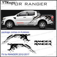 car stickers 4pc mudslinger side body rear trunk graphic vinyl car decal custom for Ford ranger t6 t7 T8