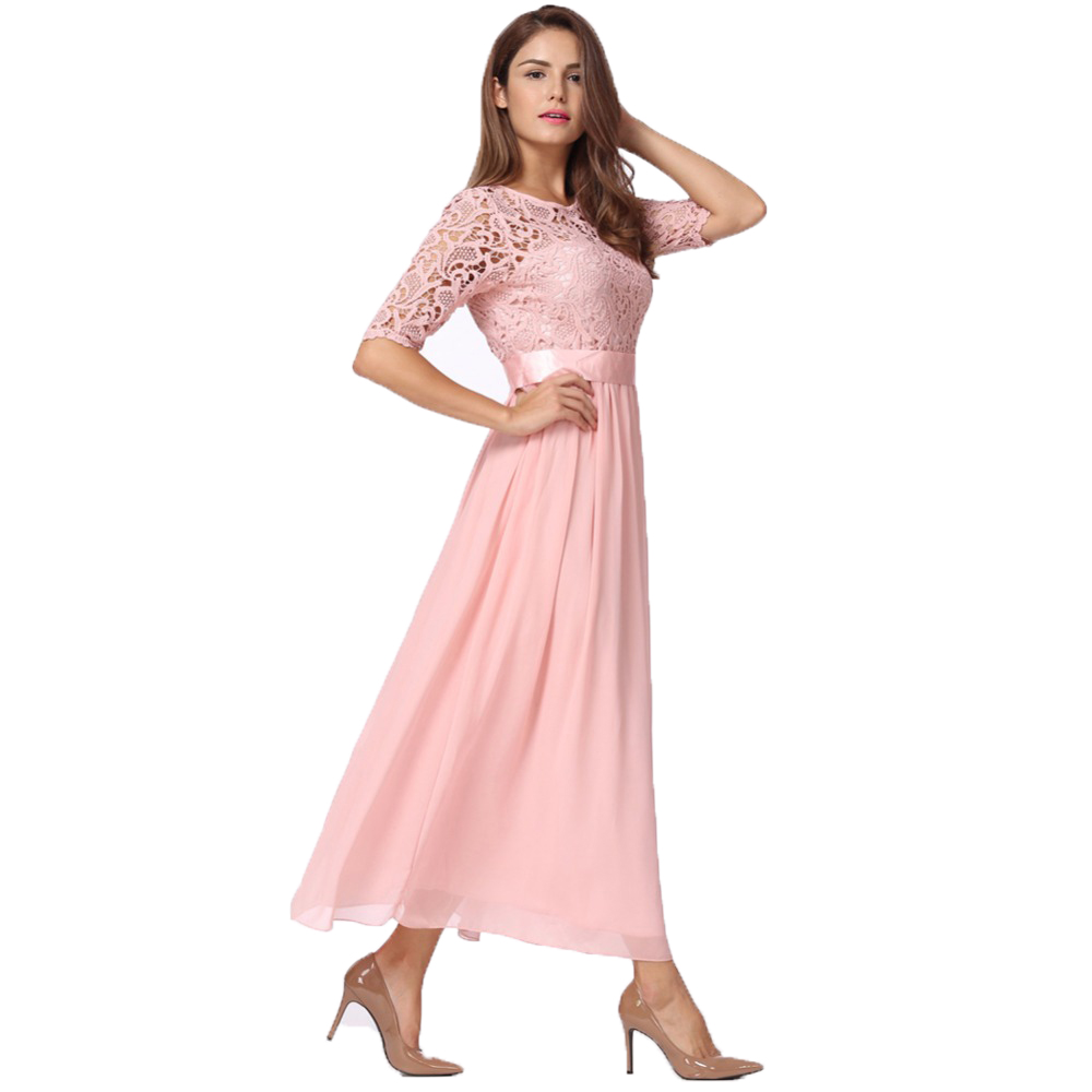 Lujoso Vestido Largo De Encaje Friso - Ideas de Vestido para La ...