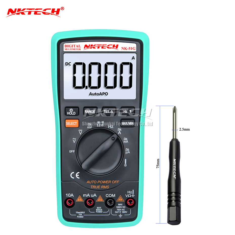NKTECH Digital Multimeter NK-51G True RMS Temperature Frequency Capacitance Resistance AC DC Voltage Current 6000 Counts Tester victor vc86d digital multimeter temperature frequency resistance capacitance dc ac current voltage meter tester rs232