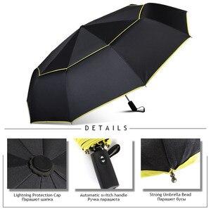 Image 5 - Big Windproof 120 ซม.ร่มฝนผู้หญิงคู่ชั้น 3 พับคุณภาพแข็งแรงร่มแบบพกพาที่มีสีสันผู้ชาย GOLF ร่ม
