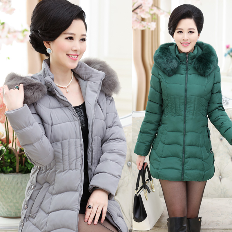 2017 HRM Middle-aged middle-aged mother women's winter coat down padded jacket thick jacket and long sections fur collar women new brand women s middle aged and old long down jacket female bigger sizes mother fur collar clothing winter coat printing hot