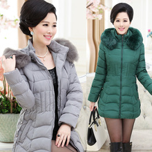 HRM Middle-aged middle-aged mother dress women's winter coat down padded jacket thick jacket and long sections fur collar women