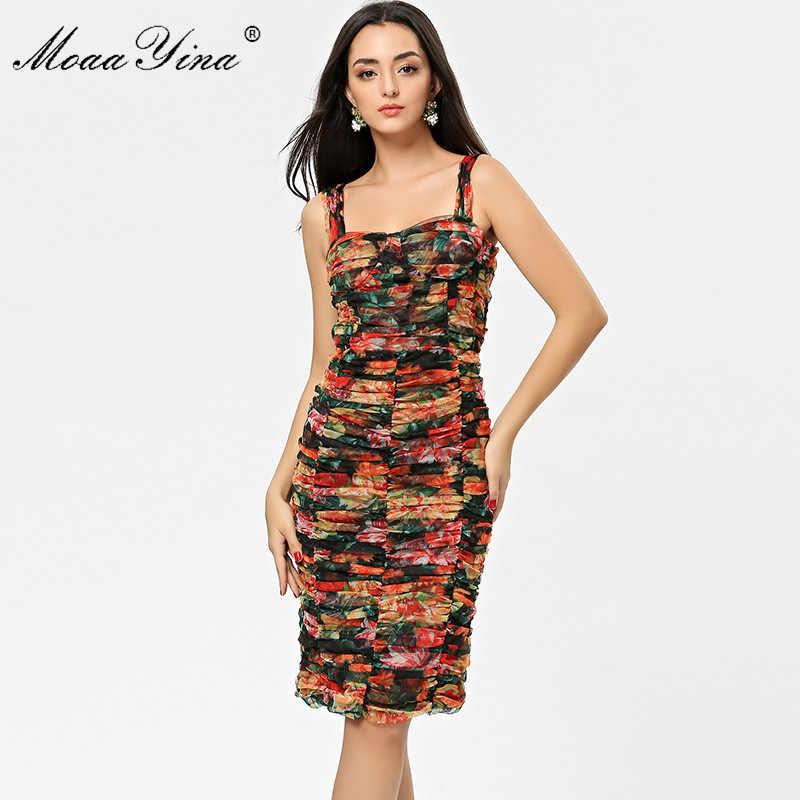 MoaaYina Новая женская дизайнерская пикантная камисоль с открытой спиной Сетчатое платье с принтом Тонкий пакет бедра платья Vestidos