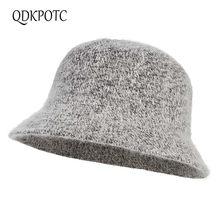 Qdkpotc moda quente chapéu de malha feminino outono inverno chapéu elegent panamá balde chapéus ao ar livre streetwear chapéu dobrável